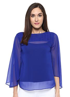 Royal Blue Georgette Sheer Top