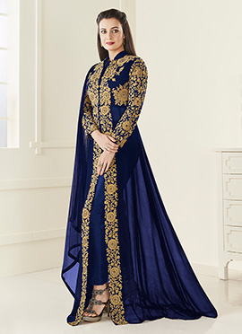 Dia Mirza Royal Blue Georgette Straight Pant Suit