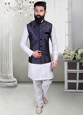 Royal Blue Jacquard Foliage Designed Nehru Jacket
