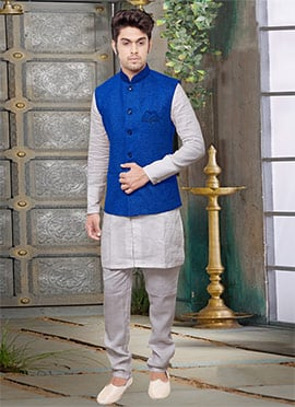 Royal Blue Jute Nehru Jacket