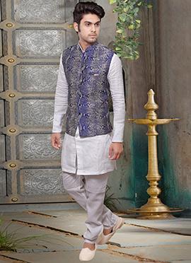 Royal Blue Jute Nehru Jacket