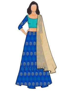 Royal Blue Kashi Silk Umbrella Lehenga
