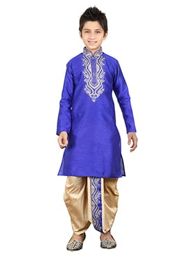 Royal Blue Kids Dhoti Kurta