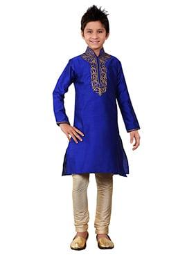 Royal Blue Kids Kurta Pyjama