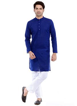 Royal Blue Linen N Cotton Kurta Pyjama