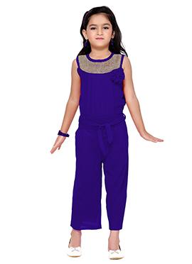 Royal Blue Lycra Kids Jumpsuit