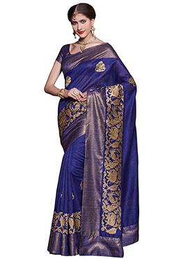 Royal Blue Matka Art Silk Saree