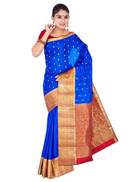 Royal Blue Mysore Pure Crepe Silk Saree