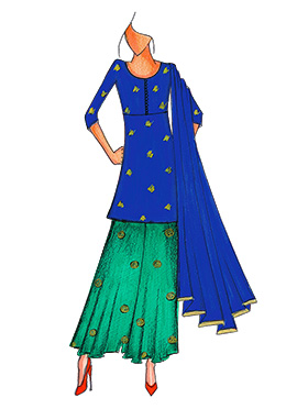 Royal Blue N Aqua Green Kurta N Flare Palazzo Suit