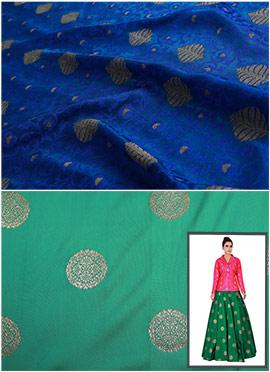 Royal Blue N Aqua Green Art Silk Skirt Set