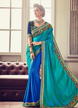 Royal Blue N Aqua Green Half N Half Saree