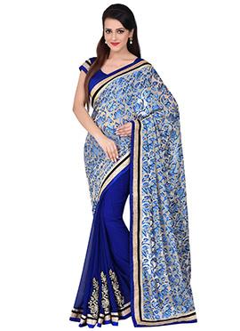 Royal Blue N Beige Half N Half Saree