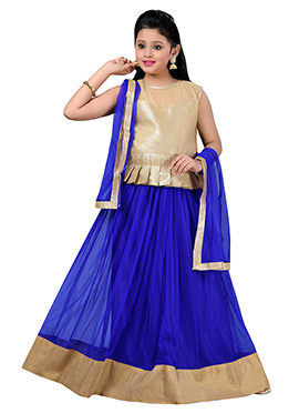 Royal Blue N Beige Teens A Line Lehenga Choli