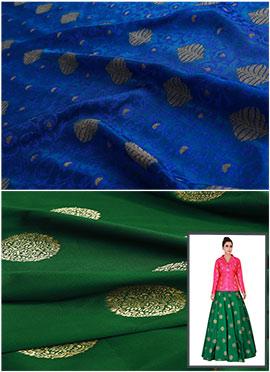 Royal Blue N Bottle Green Art Silk Skirt Set