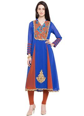 Royal Blue N Brown Knee Length Anarkali Kurti