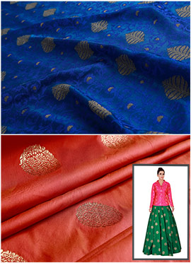 Royal Blue N Burnt Orange Art Silk Skirt Set
