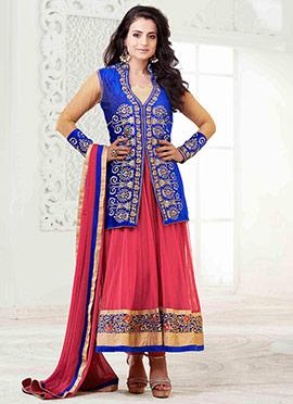 Royal Blue N Coral Pink Ameesha Patel Anarkali Sui