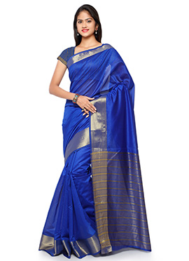 Royal Blue N Gold Blended Cotton Saree