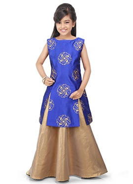 Royal Blue N Golden Kids Art Dupion Silk Skirt Set