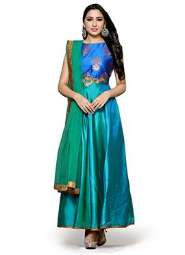 Royal Blue N Green Art Silk Anarkali Suit