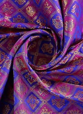 Royal Blue N Magenta Brocade Fabric