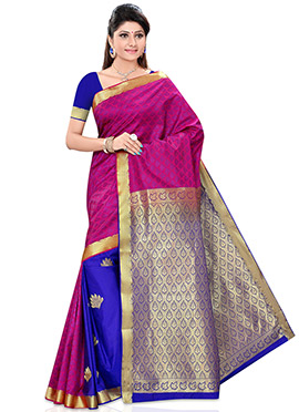 Royal Blue N Magenta Half N Half Saree