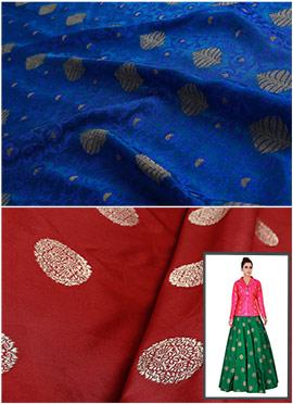 Royal Blue N Maroon Art Silk Skirt Set