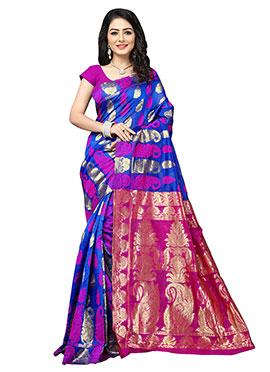 Royal Blue N Pink Benarasi Silk Saree