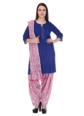 Royal Blue N Pink Pure Cotton Patiala Suit