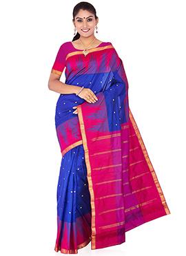 Royal Blue N Pink Pure Silk Saree