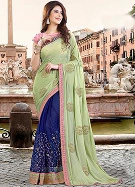 Royal Blue N Pista Green Half N Half Saree
