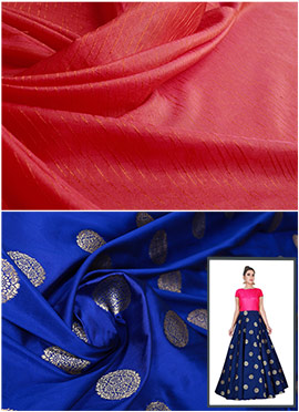 Royal Blue N Rani Pink Highwaisted Skirt N Crop Top