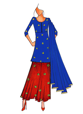Royal Blue N Red Art Silk Kurta N Flare Palazzo Su