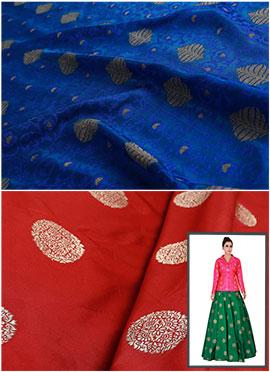Royal Blue N Red Art Silk Skirt Set