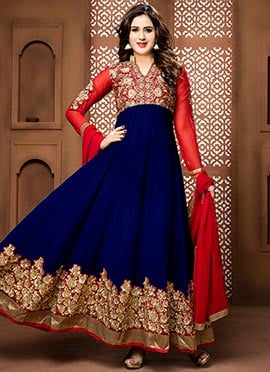 Royal Blue N Red Georgette Ankle Length Anarkali Suit