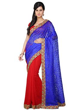 Royal Blue N Red Half N Half Saree