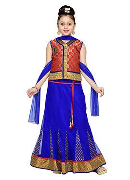 Royal Blue N Red Kids Long Choli Lehenga