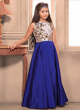Royal Blue N White Art Silk Teens Gown