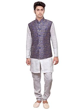 Royal Blue N White Linen Bandi Set