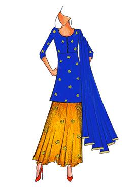 Royal Blue N Yellow Art Silk Palazzo Suit