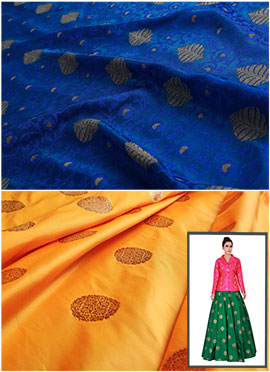 Royal Blue N Yellow Art Silk Skirt Set