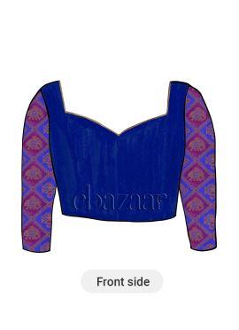 Royal Blue Nayantara Style Diamond Neck Blouse