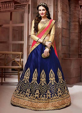 Royal Blue Net A Line Lehenga