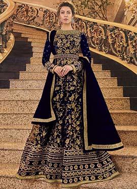 Royal Blue Net Anarkali Suit