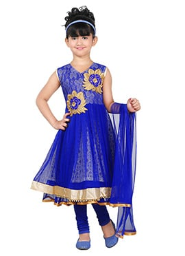 Royal Blue Net Kids Anarkali Suit