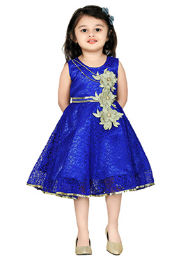 Royal Blue Net Kids Dress