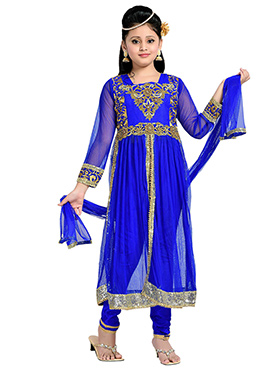 Royal Blue Net N Satin Kids Anarkali Suit