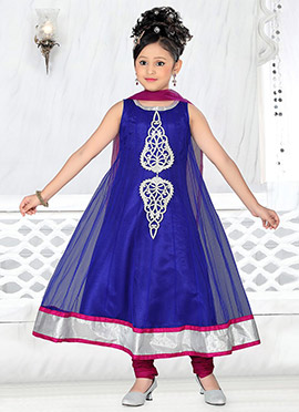 Royal Blue Net Teens Anarkali Suit
