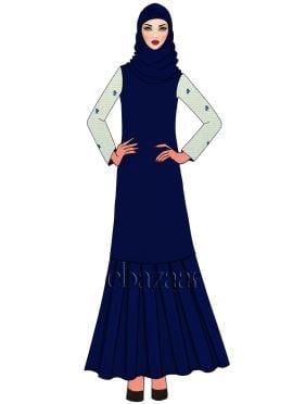 Royal Blue Opal Georgette Abaya