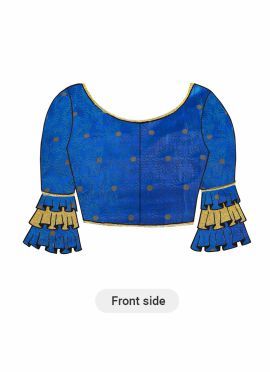 Royal Blue Patterned Silk Blouse